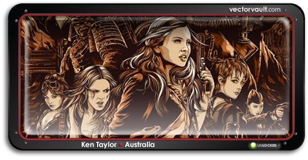ken-taylor-illustrator-australia-sucker-punch-movie-poster