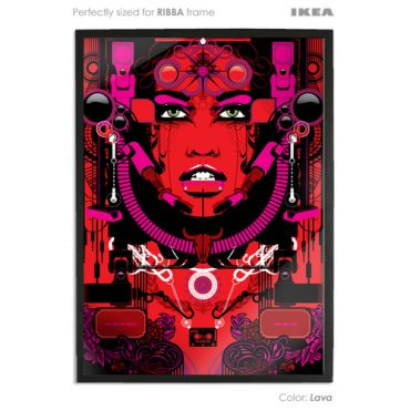 lava  coloured art print sized to fit ikea ribba frame buy vector digital art print poster