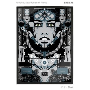 steel coloured art print sized to fit ikea ribba frame buy vector digital art print poster