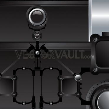 vector illustration of robotic components gears and levers